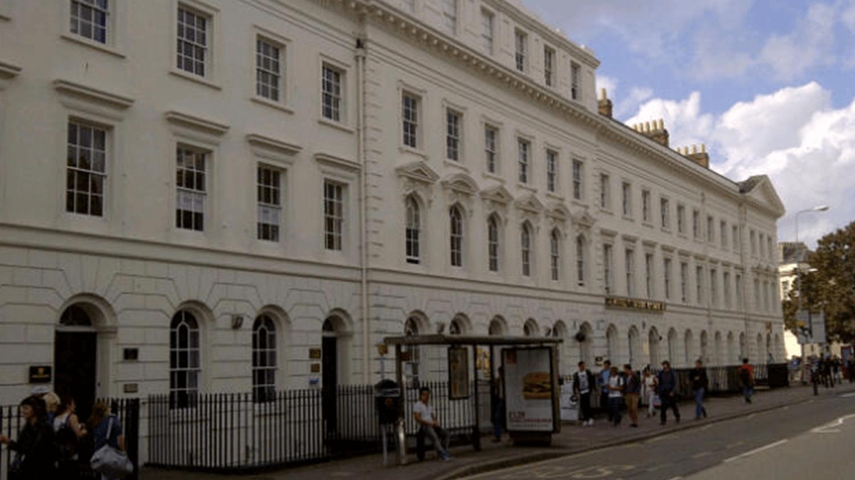Elegant Exeter buildings.